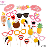 21 Pieces Summer Party Decoration Photo Booth Props Flamingo Party Supplies