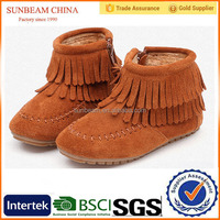 Khaki color warm children girl winter tassels boot