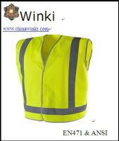 Roadway Clean Worker Wear Security Vest High Reflective Strips ,120gsm Knitting Fabric Conformed to CE