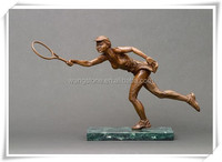 Modern dynamic tennis player bronze sculpture for outdoor decoration