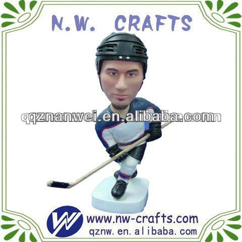 Ice hockey player bobble head resin crafts