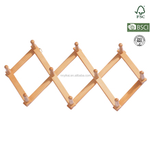 Yikai make Korea style wall mounted folding clothes hanger drying rack with solid wood