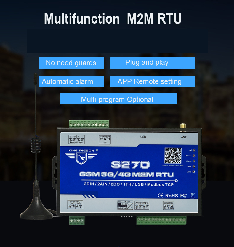 Aquiculture Monitoring Alarm 4G S270 RTU Modbus TCP IOT Device Supports SMS APP Web Cloud Setting with PT100