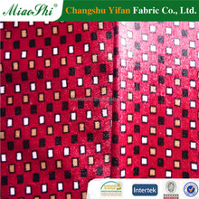100% polyester fabric weft knitting velvet printed red velvet lounge