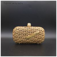 Ladies sparkling gold diamond hollow out handmade and skull closure clutch party purse