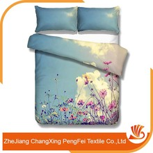 Beautiful flower designs bed cover sheet fabric painting type