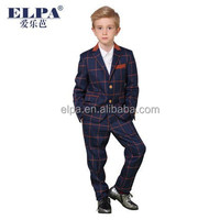 ELPA red Elbow Patch 2016 boys suit clothing baby Blue plaid boy casual suits for wedding/Show