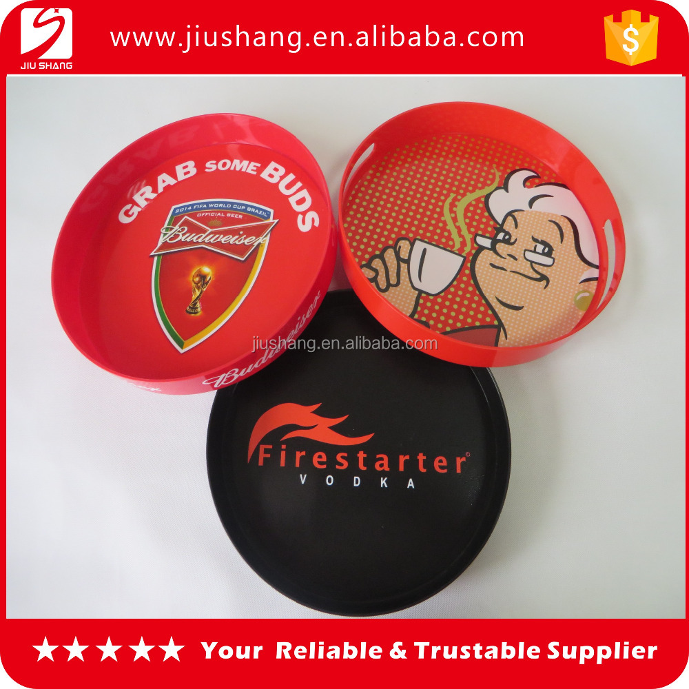 New hot sell round shape ps plastic anti-slip bar beer serving tray with handle