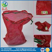 Hot sale high quality pp tubular knitted mesh bag with drawstring for garlic draw string