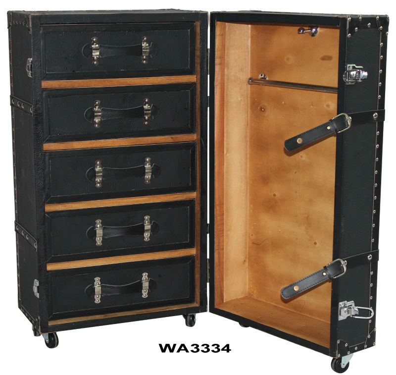Black Leather Antique Wardrobe Steamer Trunk