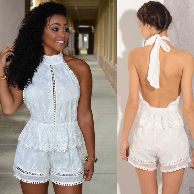 F30098A lady fashion bodysuit lace halter night club party wear womens jumpsuits backless sexy bodysuit