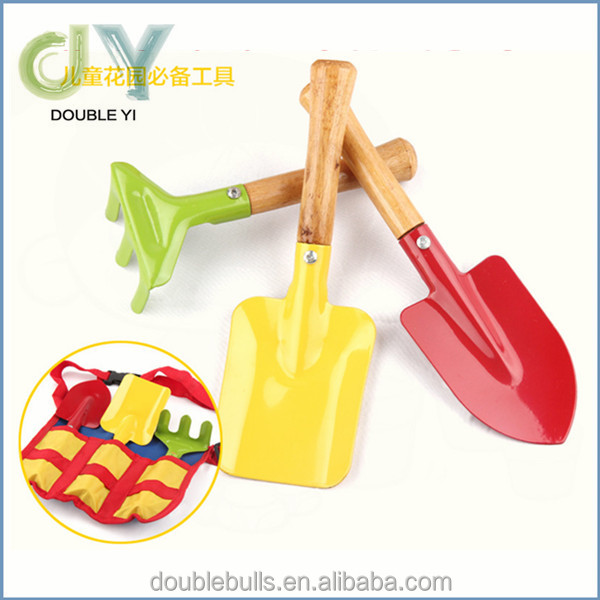 Made in china kids real tool set 3 in 1 garden metal tool with wooden handle boys metal tool set