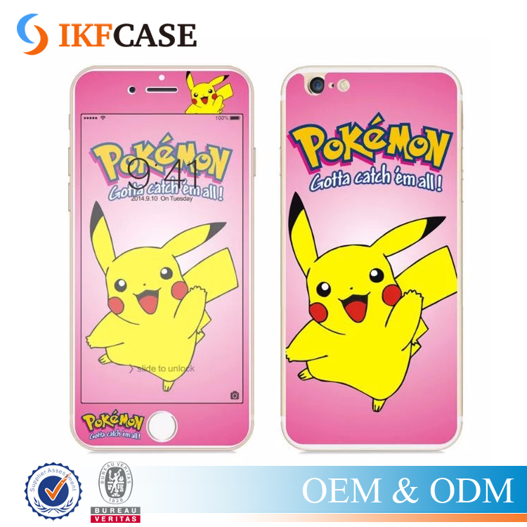 Front+Back 3D Pocket Monsters Pikachuing Pokemons Go Color Premium Tempered Glass Screen Protector for iPhone 5 5S 5G SE