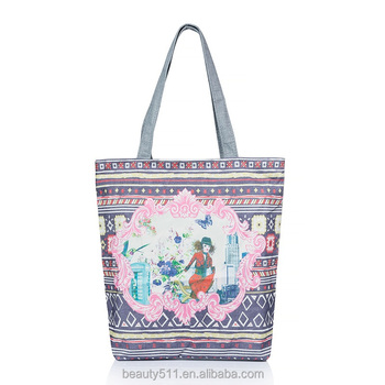 Oil painting natural cotton printing female folk-custom bag shoulder polyester shopping bag CB04