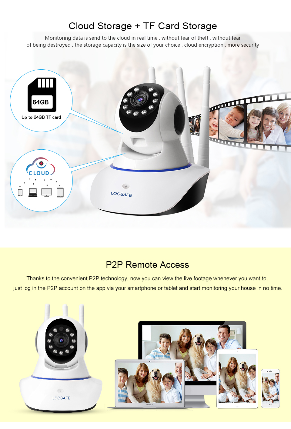 New!!! loosafe V380 wifi camera Three Antennas 720p Security p2p wireless home small monitor IR Night Vision IP CCTV Camera