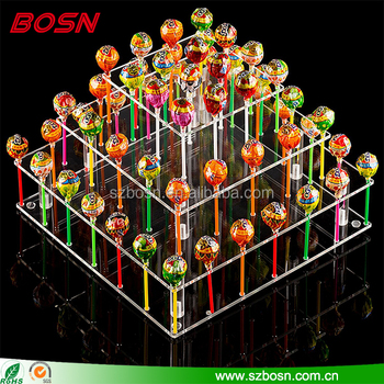 Clear square 3 tier acrylic lollipop Tower plexiglass lolly holder display rack