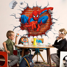 3d spiderman through the wall stickers home decoration pvc adesivos de paredes kids room decal movie cartoon mural art Y006