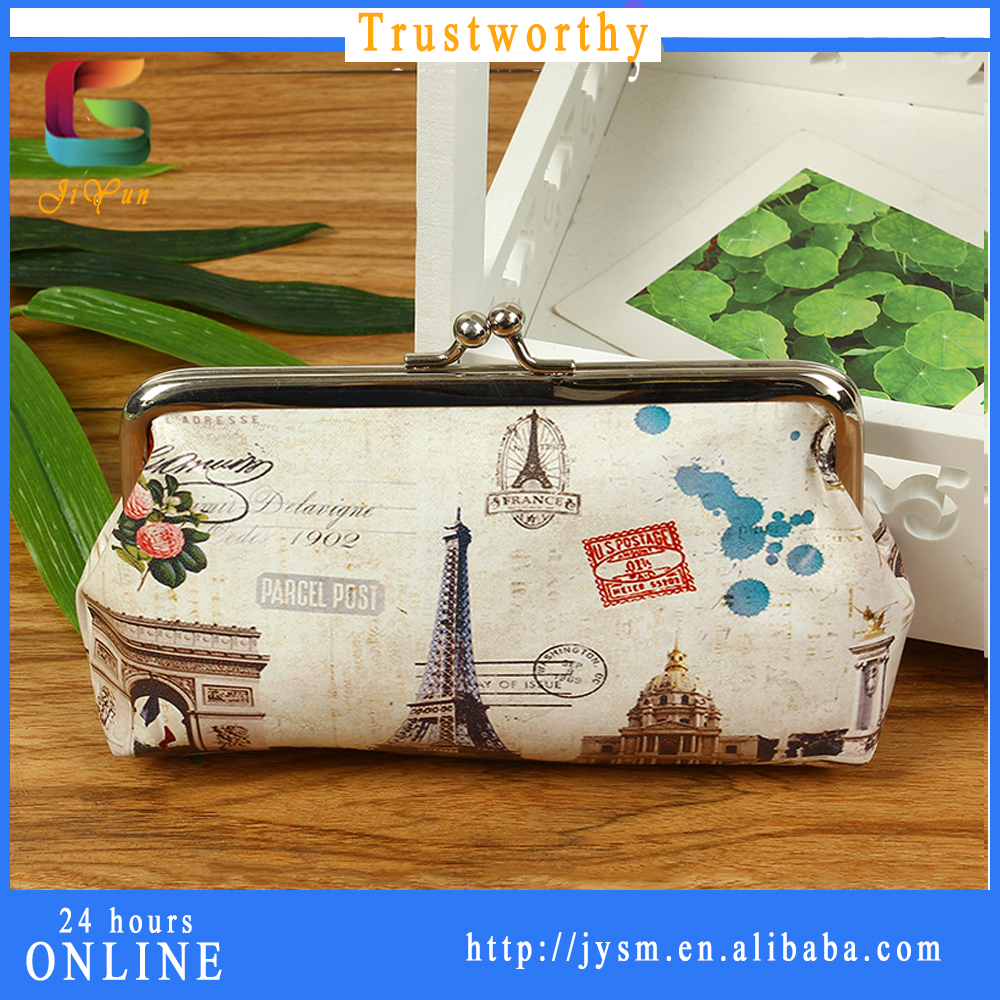 2016 Paris Souvenir Bags with City Name Printed PU Girlfriend Gift Coin Purse Handbag High Quality Bag with Effel Tower Design