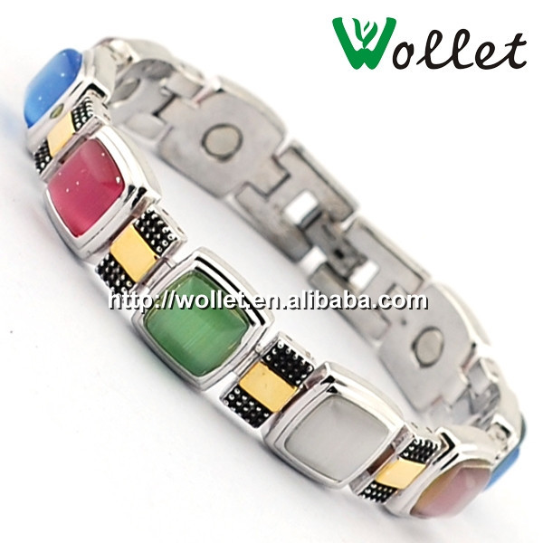 wollet fashion jewelry wholesale 316l stainless steel bio magnetic bracelet with cat's eye stone