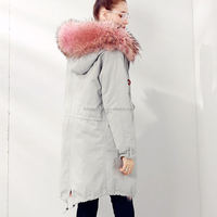 Real Pink Fur Hood Parka with Raccoon Fur and Lined Jacket for Winter Women