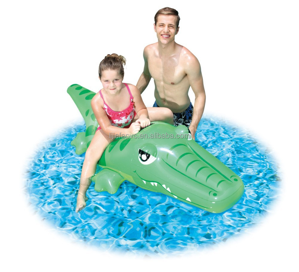 inflatable baby toys crocodile rider on with duty handle