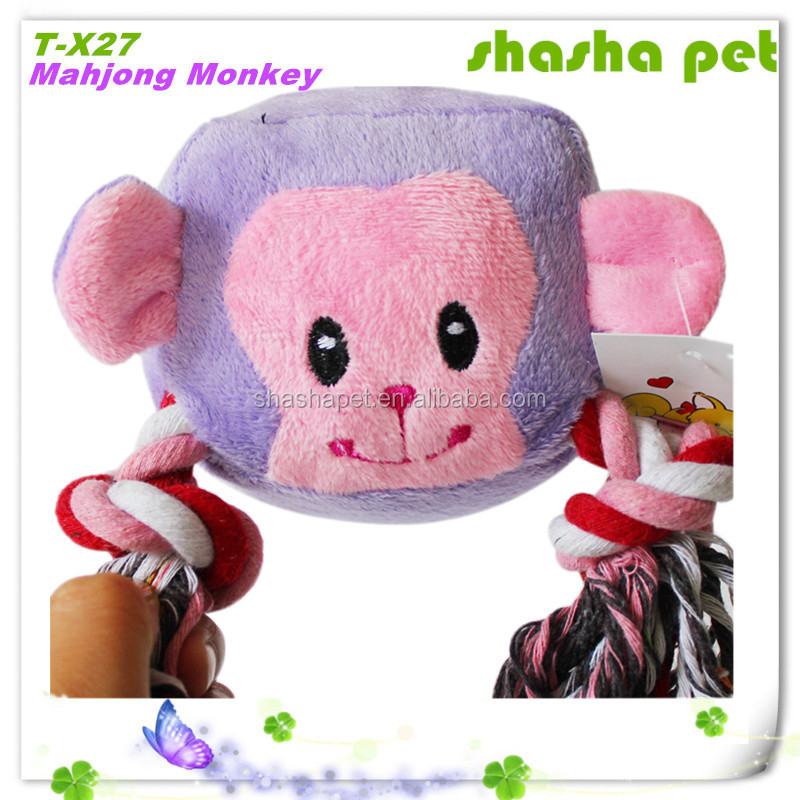 Cat toys free samples Mahjong Monkey plush squeaker dog toy,pet product from China Factory wholesales