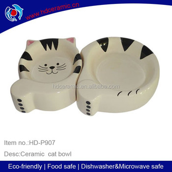 ceramic cat shape pet feeder ,hot sell new design for cat bowl with white color little cat design