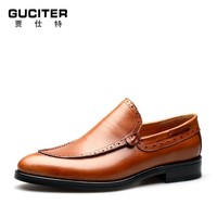 Goodyear welted italy leather shoes mens leather round head foot big yard breathable lazy custom shoes with logo leisure shoes