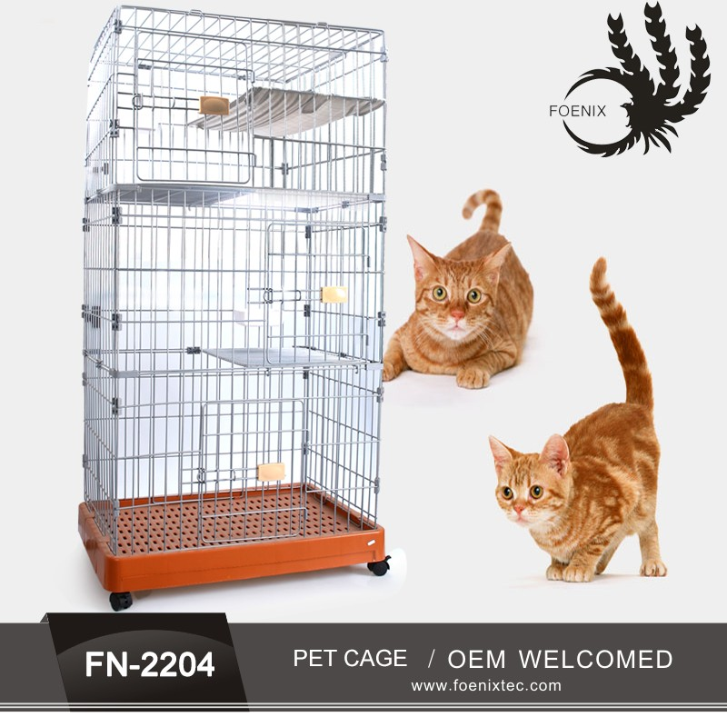 Folding metal wire dog cages with plastic tray manufacturer foldable dog cage