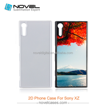 2d pc case for Sony XZ,blank phone case with white aluminum metal insert