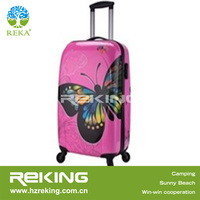 Promotion Butterfly Printing Red Lightweight PC ABS Trolley Luggage