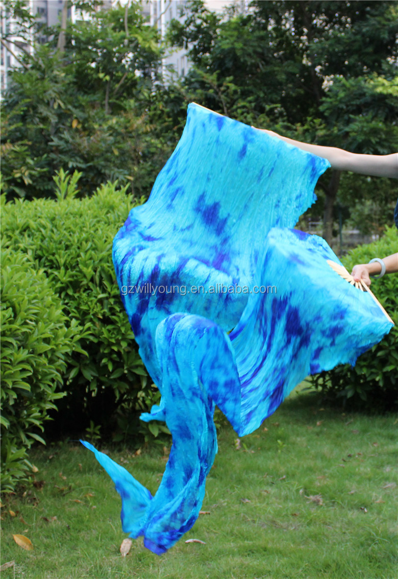 Belly Dance New Tye dyed Silk Fan Veils, 180*90CM, High Quality Tie-dyed TURQUOISE-BLUE