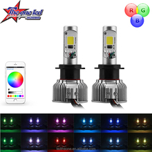 H11 2in1 LED Headlight Bulb Kit - Smartphone App-enabled Bluetooth RGB Demon Eye + LED Headlight Conversion