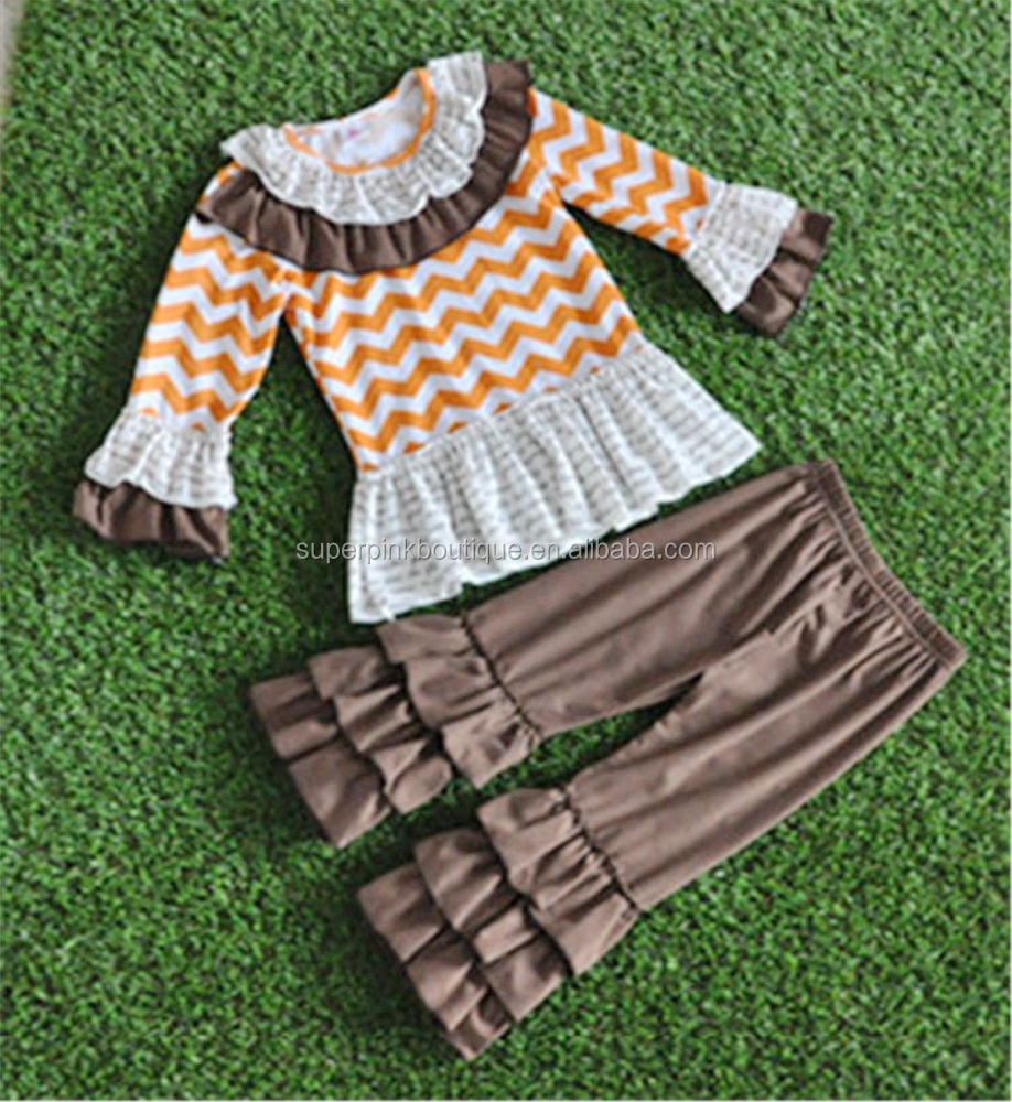 Toddler girl fall boutique orange and white chevron outfits baby kids halloween clothes