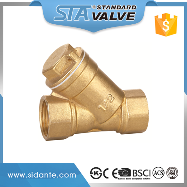 ART.4008 1/2 3/4 1 2 inch original brass color brass check valve Y strainer with competitive price manufacturer fast supplier