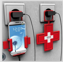 Wholesale cross shaped phone charger holder /creative phone charger stand