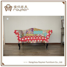 Vintage countryside couch wooden linen printed sofa country style floral sofa