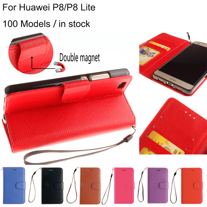 Six Colors Lichee Pu Leather Flip Wallet Case For Huawei P8 P8 Lite Mobile Cover