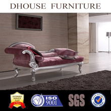 high end solid wood hand carved fabric lounge chaise AL086