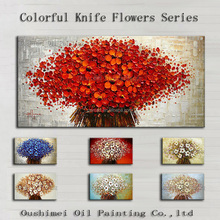 Best Wall Decoration Modern Thick Oil Knife Flowers Oil Painting On Canvas Handmade Colorful Modern Flower Oil Paintings