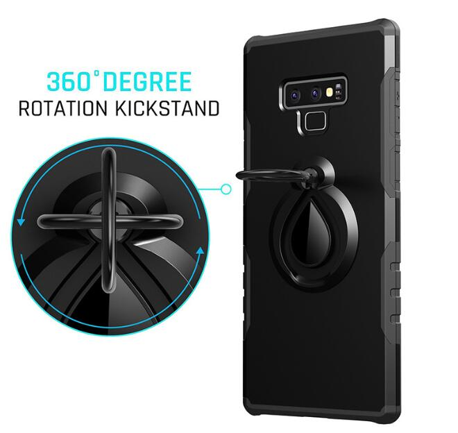 Dual Layer Magnetic 360 Rotating Ring Grip Holder Stand Metal Patch Shock-Absorption Hard PC & Soft TPU for Samsung  note 9