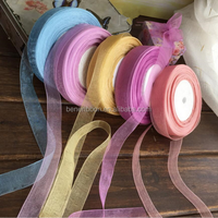 20mm 50 Yard/Rolls 44M Transparent Silk Organza Polyester Ribbon For Wedding Party Decoration Webbing Gift Packing Belt