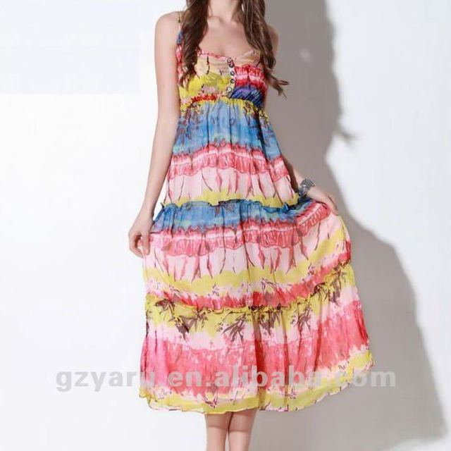 print dress chiffon one shoulder thailand for bridesmaid for summer