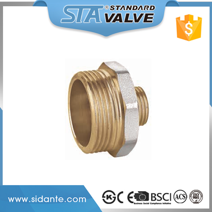 Factory Direct Plumbing Tube Straight Connector NPT Male Brass Pipe Hex Nipple Reducer Threaded for Air Fuel Water