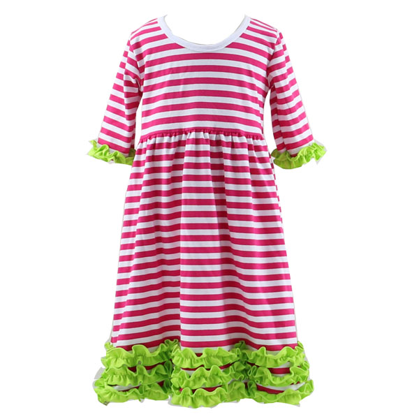 2016 New Year Girls Fancy Red Strip Lime Ruffle Christmas dress BAby Children Frocks Designs