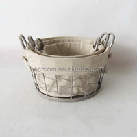 Wholesale cheap stackable metal wire baskets round or rectangular wire basket with lining