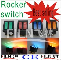 KCD8 12V 24V 110V 250V Green red blue yellow 6 pin rocker switch t125 5e4 with lamp