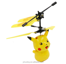 2017 Hot Selling Promotional plastic pokemon flying spinning toys/Induction flight