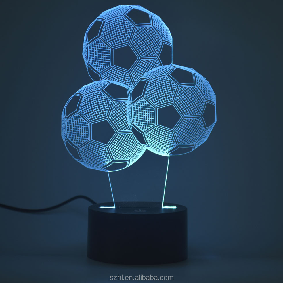 3 football Shape Acrylic LED Lamp 3D Baby Night Light Sleeping Lighting
