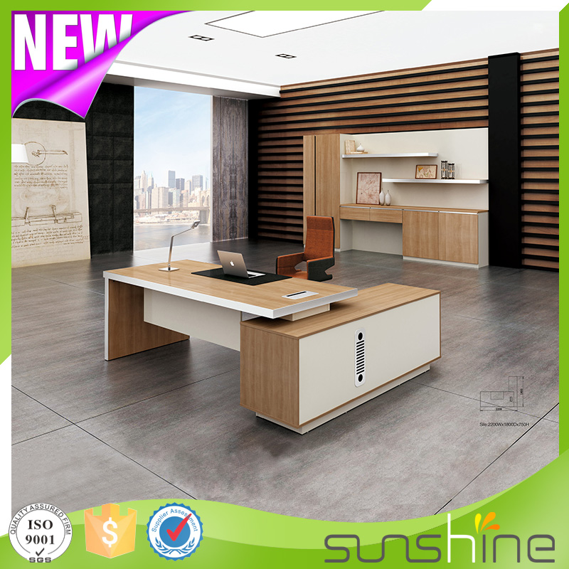 Luxury wooden office furniture L shape executive desk three drawer pedestal BS-Z2090